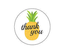 Summer Thank You 20 Pineapple Thank You Stickers Summer Birthday Pineapple Theme