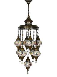 multi colored chandelier mosaic 9 lamps rugs and gifts multicolor necklace