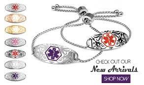 al bracelets for women new etched al id s and bracelets al alert