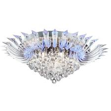 crystoria chrome 52 led ceiling light with clear glass drops