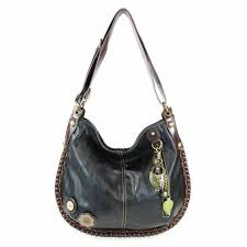 details about new chala convertible hobo large tote bag metal owl vegan leather gift black