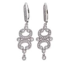leslie greene 1 24ctw cubic zirconia bottega sterling silver chandelier earrings