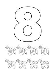 Small Picture Learn Number 8 with Eight Flower Fishes Coloring Page Bulk Color