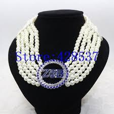 greece greek sorority zeta phi beta symbol royal blue white crystal pearl jewelry multilayered