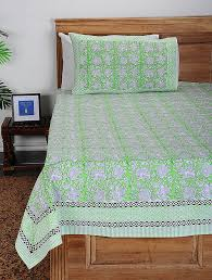 green white block printed cotton double bed cover with pillow covers set of 3 delightful block prints