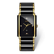 rado watches ernest jones rado men s black ceramic gold plate bracelet watch product number 2087669