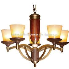 china shenzhen chandelier lamp e27x5 antique brass iron red wooden pendant light with 5