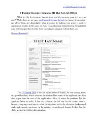 Popular Resume Formats Simple 28 Popular Resume Formats 28 That Get Job Offers