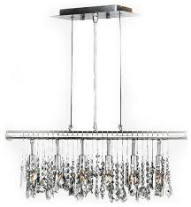 nadia 6 light chrome finish and clear crystal linear pendant 24 w x
