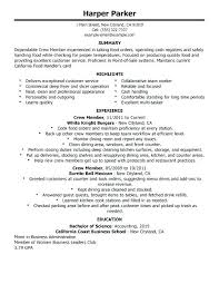 restaurant objective for resume resume server bartender description sample creer pro