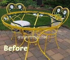 wrought iron vintage patio furniture. Magnificent Vintage Wrought Iron Outdoor Furniture Table And Chairs Redo Grandparentsplus Patio S