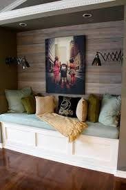 cozy reading nook dark stained wood wall