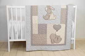 bunny baby crib quilt rabbit blanket neutral bunnies bedding for baby boy or baby girl beige ivory gray