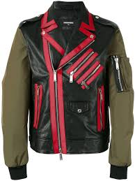 dsquared2 contrast sleeve chiodo jacket 961 men clothing jackets leather dsquared t shirt dsquared nyc fabulous collection