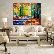 Framefree Forest Landscape Painting Canvas Wall Art Picture 3PCS Wall Picture Frames For Living Room