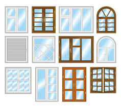Download Set Of Different Types Of Windows. Stock Illustration -  Illustration of plastic, illustration