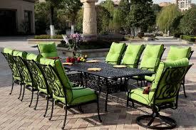 patio furniture dining set cast aluminum 92 120 extension table 11pc santa anita