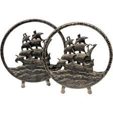 antique nautical tall ships round andirons firedogs cast iron sailing sea ocean place for grate iron andirons inserts tool