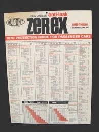 Zerex Antifreeze Application Chart Details About 1970 Dupont Zerex Antifreeze Coolant Protective Guide Sign Wall Chart Poster