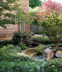 Lawn & Garden:Unique Japanese Garden Design Ideas With Small Wooden Bridge  Lovely Small Japanese