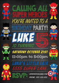 Personalized Superhero Birthday Invitations Superhero Birthday Invitations Printable Digital File Personalized