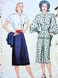 1940s Dress Patterns Gorgeous 48s SIMPLICITY 48 DRESS JACKET PATTERN FRONT BUTTON BODICE