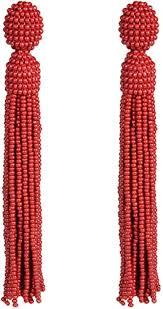 Red <b>Beaded Tassel</b>,Oscar de la Renta, Long <b>Statement</b> Earrings ...