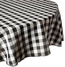 linentablecloth 90 inch round polyester tablecloth black white checker 90rnd 010311