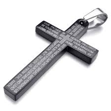 now inblue mens stainless steel pendant necklace cross english lords prayer with 23 inch chain ing