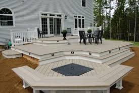 amazing multi level deck stack the 21 and patio with pergola above ground pool photo image for split home wooden covered