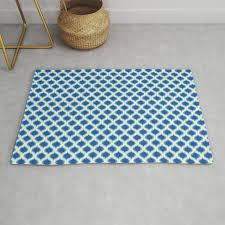 blue yellow green ikat ogee pattern rug