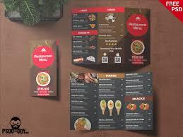 Restaurant Trifold Menu Card Psddaddy Com