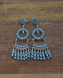 vintage zuni sterling silver and turquoise chandelier earrings by phyllis laate