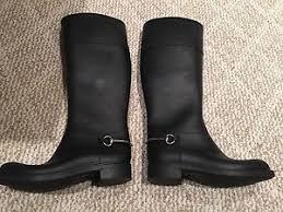 gucci rain boots. gucci black rubber silver horsebit tall rain boots size 37 b