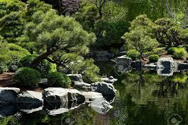 Japanese Landscape Design Beautiful Japanese Garden With Small Pond Garden Design Stock