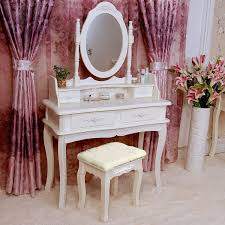 makeup vanity table with mirror. tribesigns makeup vanity table set bedroom dressing with stool and mirror (1 + 4 drawer)-eco friendly environment home product, energy saving h