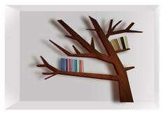 ORA collection of elegant wooden bookshelves that resemble <b>tree</b> ...