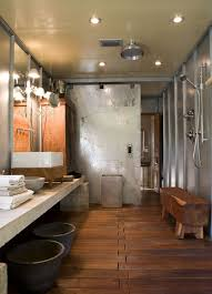 Bathroom:Modern Rustic Bathroom Designing Idea With White Sleek Bathtub  Design On Wooden Floor Amazing