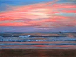 beach sunset original oil 18 x 24 paintings by larry wall ocean wave seascape marine scenic