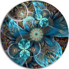 exellent wall designart u0027fractal blue flowersu0027 digital art fl round wall on free today com 14263765 for