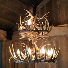 two tier whitetail antler chandelier