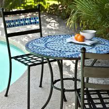 Outdoor 3Piece Aqua Blue Mosaic Tiles Patio Furniture Bistro Set Three Piece Outdoor Furniture