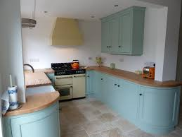 country kitchen handpainted in duck egg blue curved corner unit