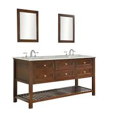 mission spa 70 in double vanity in dark brown with marble vanity top in carrara white and mirrors