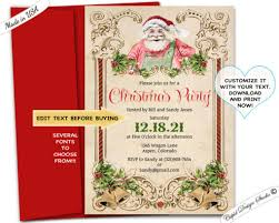 Christmas Holiday Invitations Vintage Christmas Holiday Invitation Retro Santa Party Invite Digital Editable Printable File