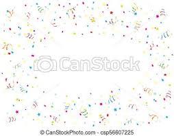 Happy Birthday Streamer And Confetti On White Background