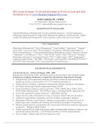 Maintenance Manager Resume Resume Templates