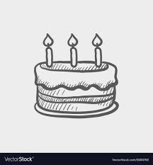 Birthday Cake With Candles Sketch Icon Royalty Free Vector