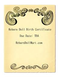 How To Make A Birth Certificate How To Create A Reborn Doll Birth Certificate