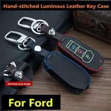 3 ons car key fob cover case car keychain luminous genuine leather key cover for ford mondeo fold key case for car malaysia